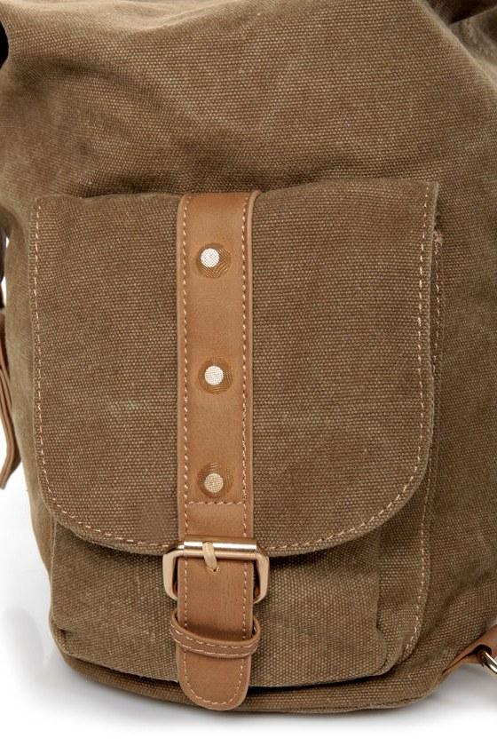 Burt Back-a-pack Brown Canvas Backpack