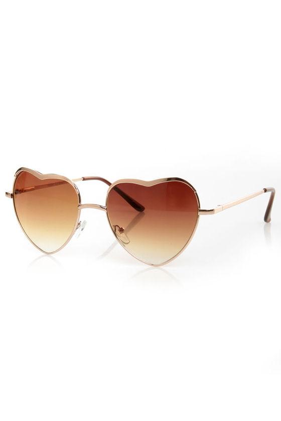 7af79b9054f Cute Heart Sunglasses - Gold Sunglasses -  13.00