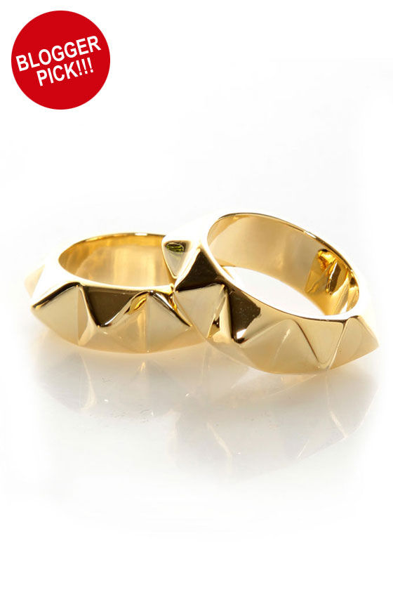 Pair Up Gold Spike Stacking Rings at Lulus.com!
