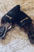 Antonia Black Faux Fur Loafer Slides