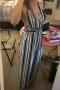 b2ac10441cd2 Sunbathing in Spain Navy Blue and White Striped Halter Jumpsuit