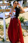 d98f82b820016 Sun Seeking Brick Red Lace Swim Cover-Up Maxi Skirt