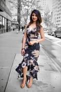 Elegant Floral Print High Low Dress Black Floral Dress