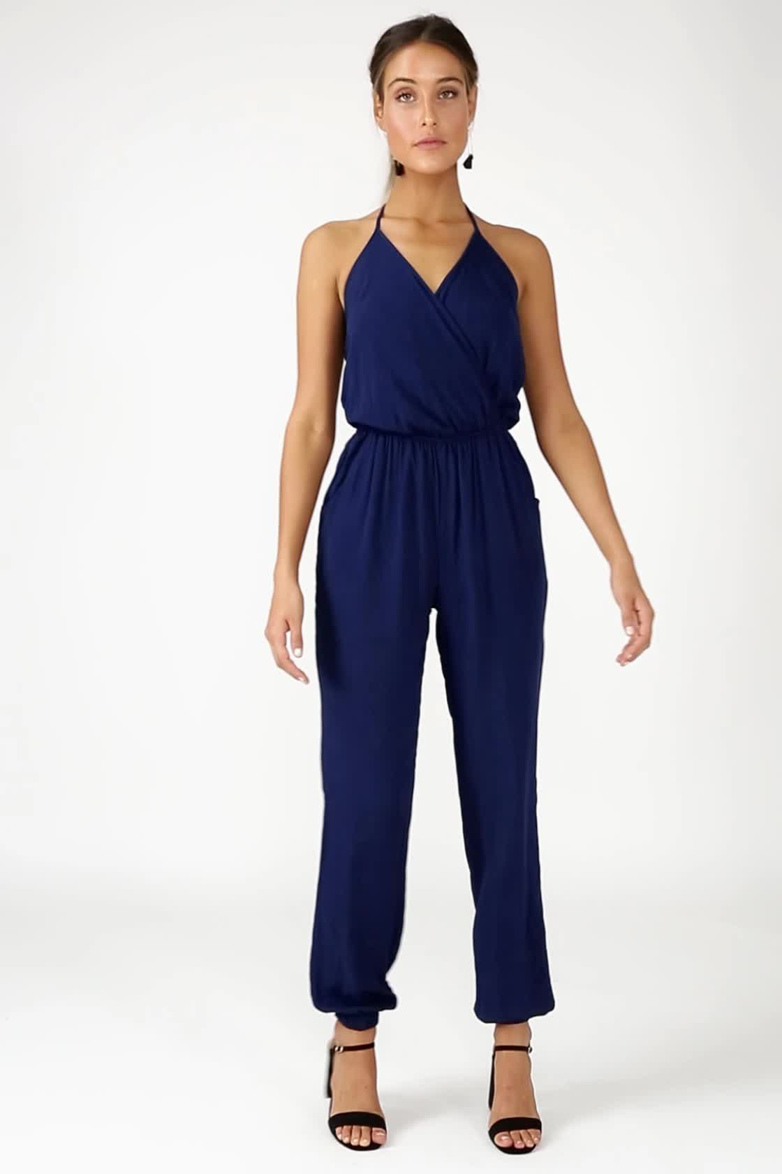 ca020a1e95cd Cute Navy Blue Jumpsuit - Sleeveless Jumpsuit