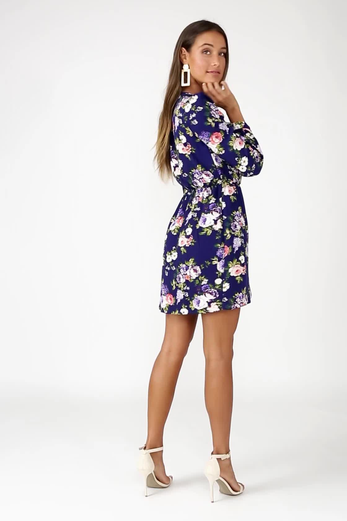 da48c31dc4e70 Cute Burgundy Dress - Wrap Dress - Long Sleeve Dress - Polka Dot ...