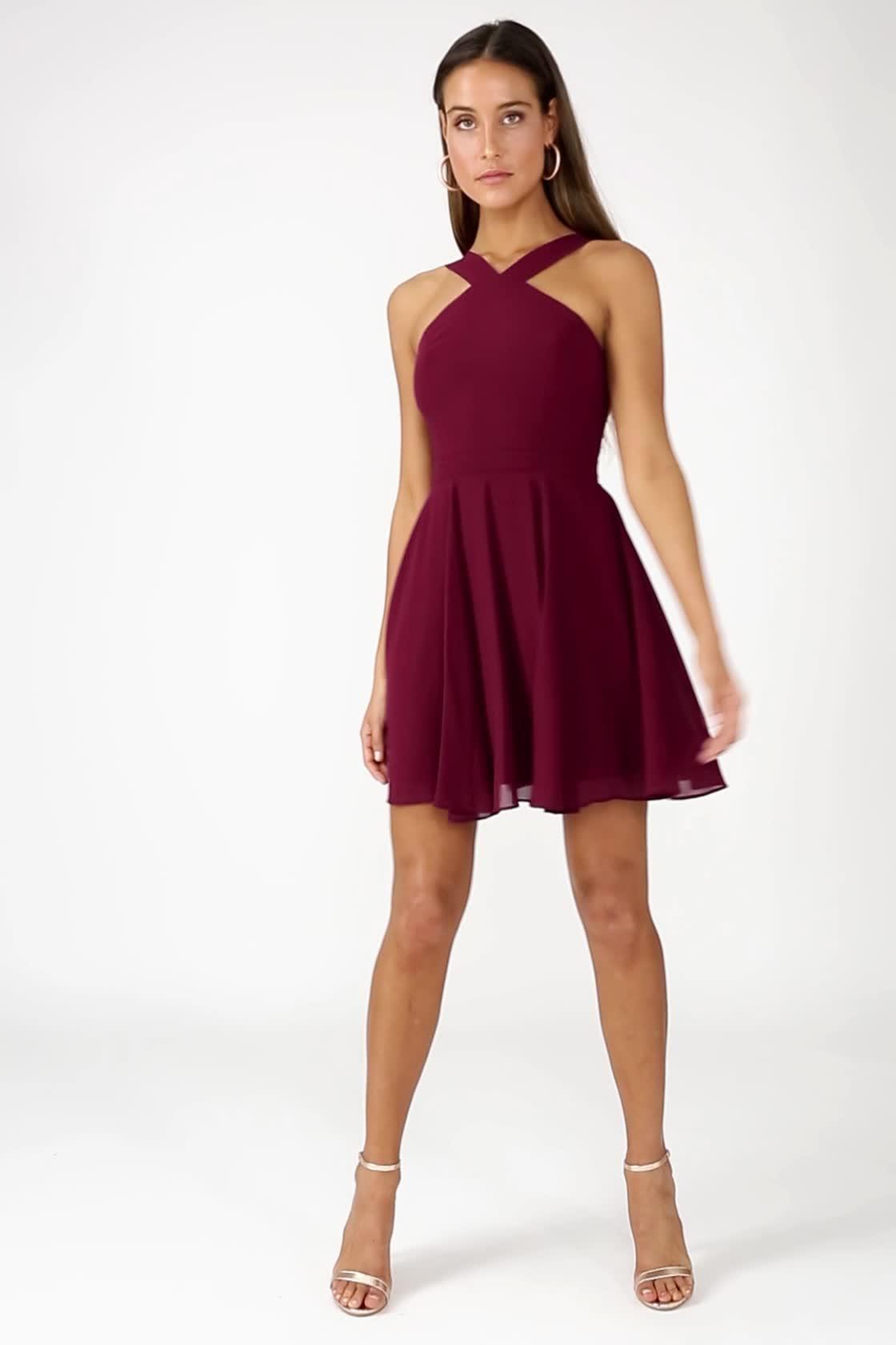 42eb0a24210 Lovely Burgundy Dress - Halter Dress - Bridesmaid Dress