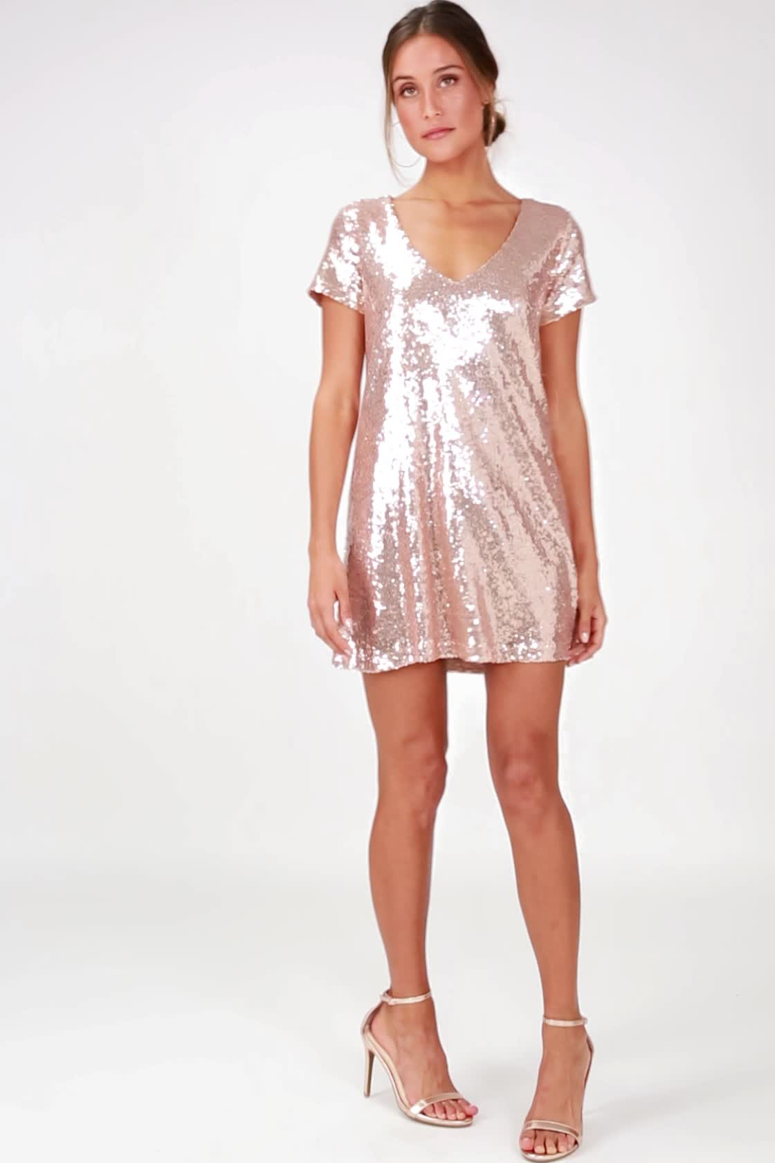 31f5ea6d8b1a Champagne Sequin Dress - Sequin Shift Dress - Mini Dress