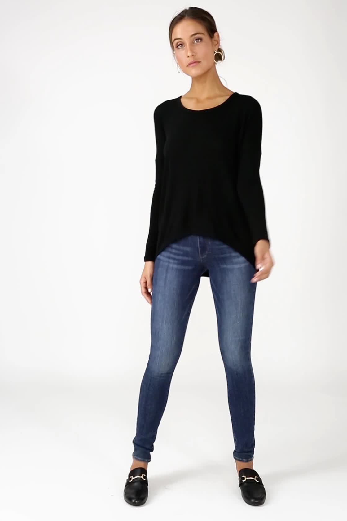 75a56f906c6 Cute Black Sweater - Knit Sweater - Long Sleeve Top