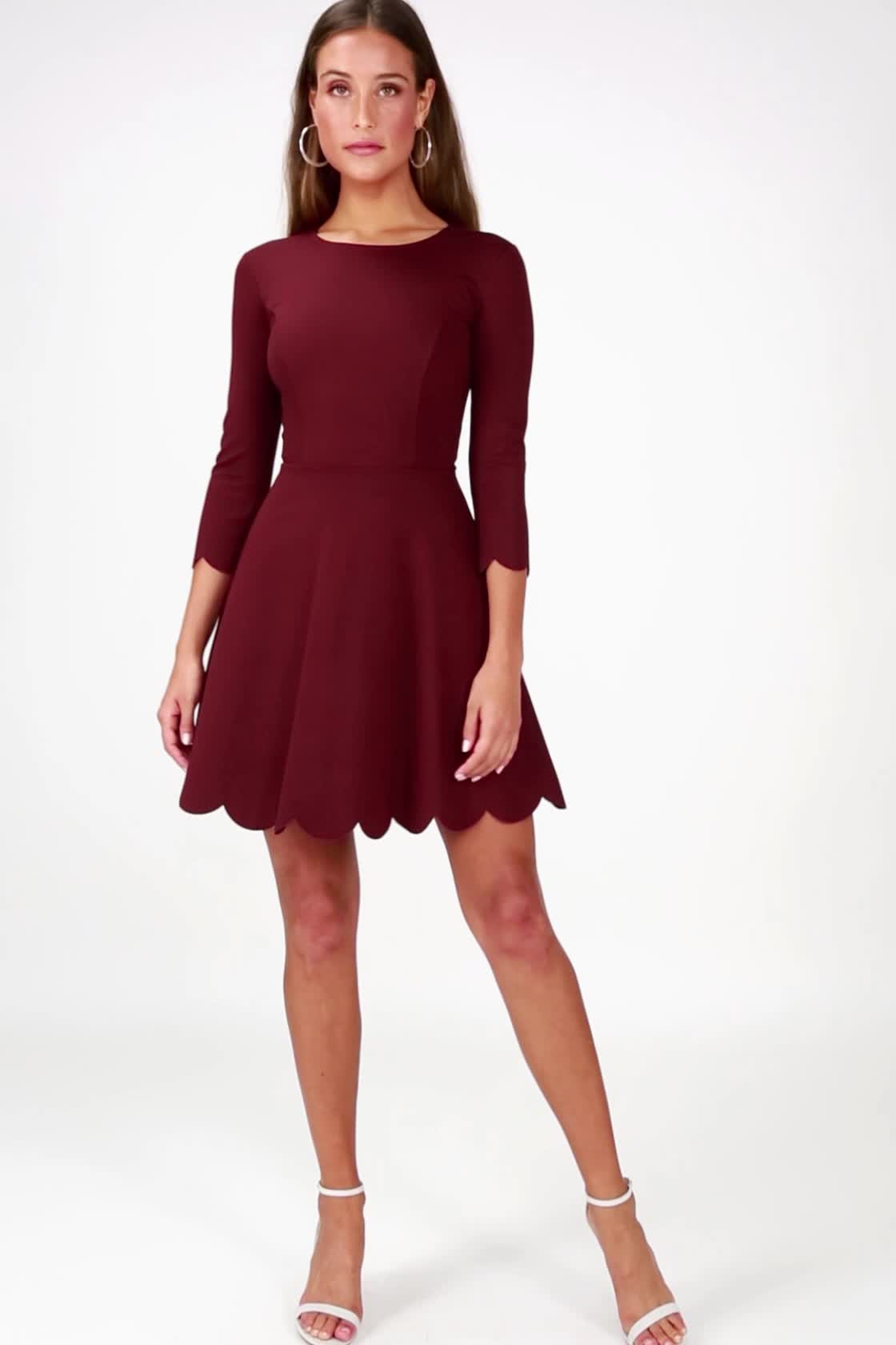 1d3b20c5993387 Burgundy Skater Dress - Long Sleeve Dress - Skater Dress