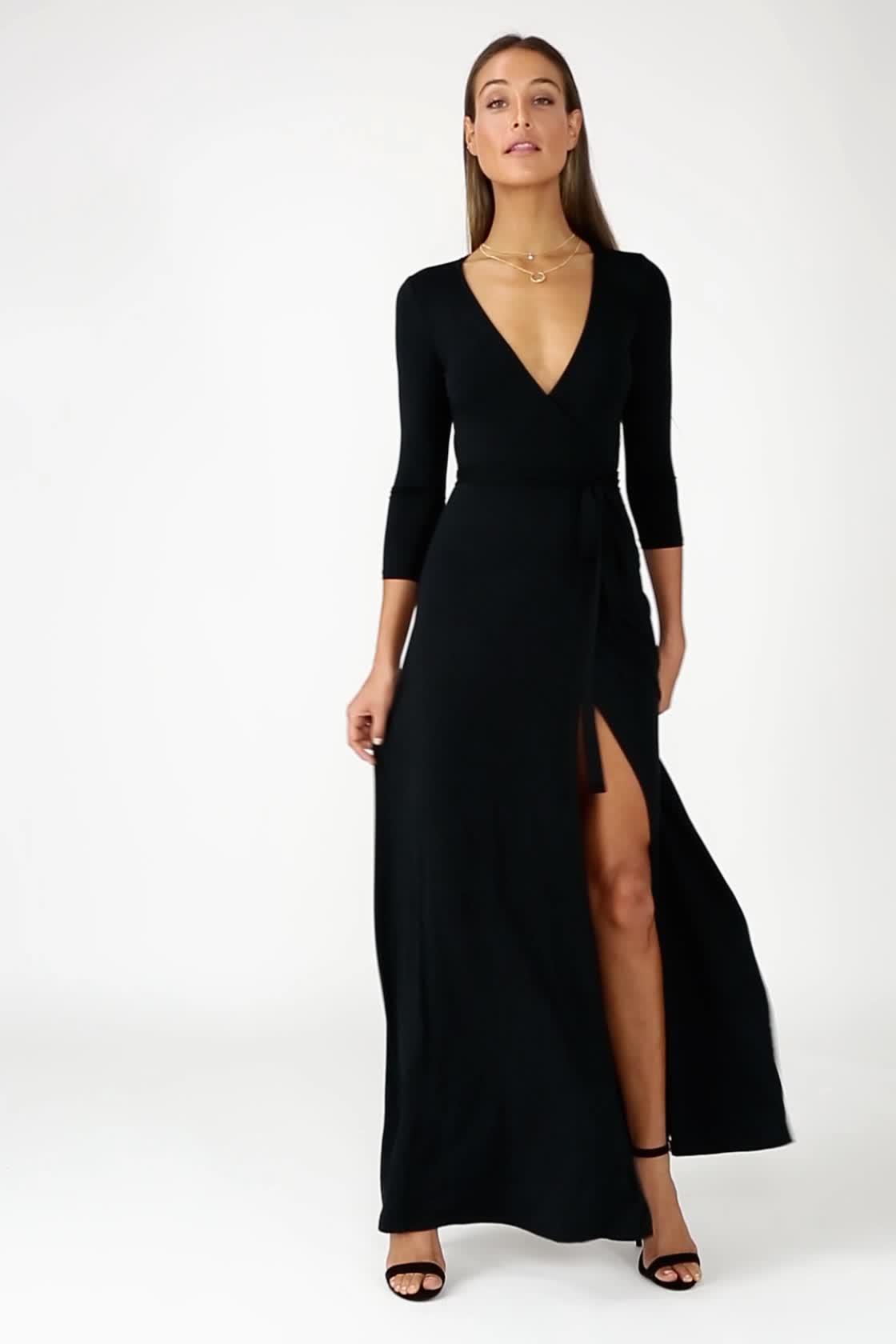 d5cb1b9293 Lovely Navy Blue Maxi Dress - Wrap Dress - Wrap Maxi Dress