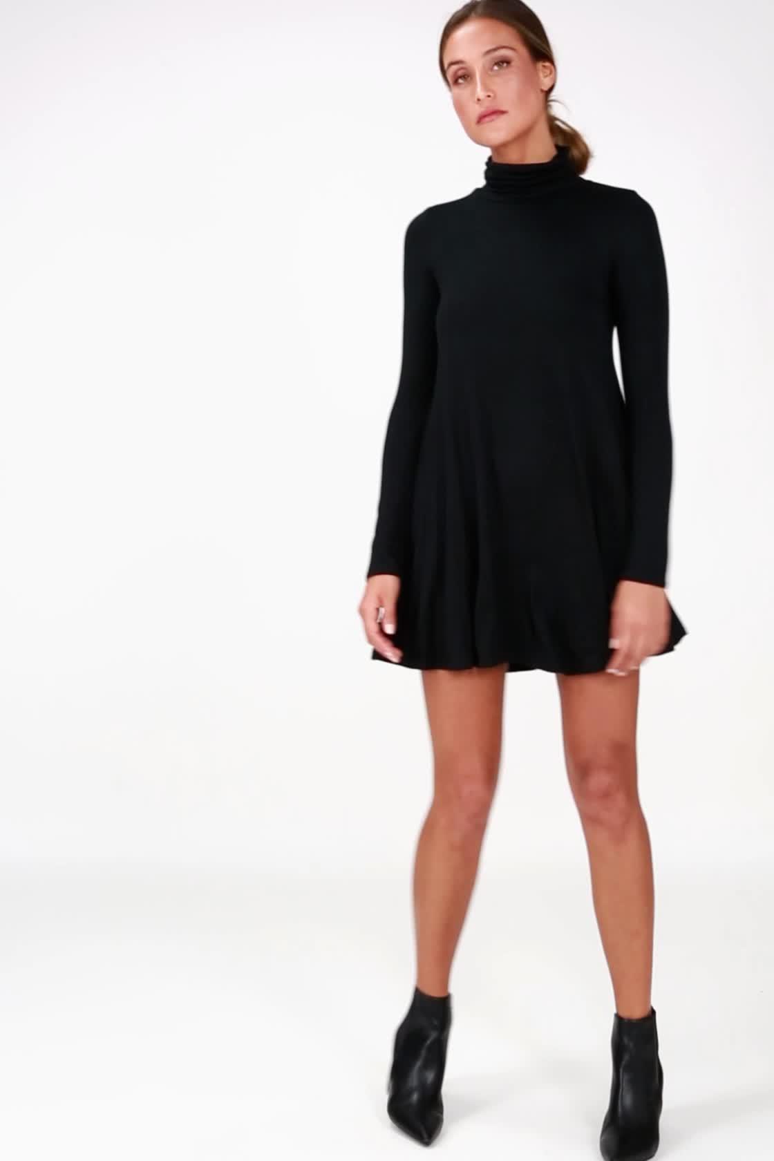 e69f88298c85 Chic Black Dress - Swing Dress - Long Sleeve Dress