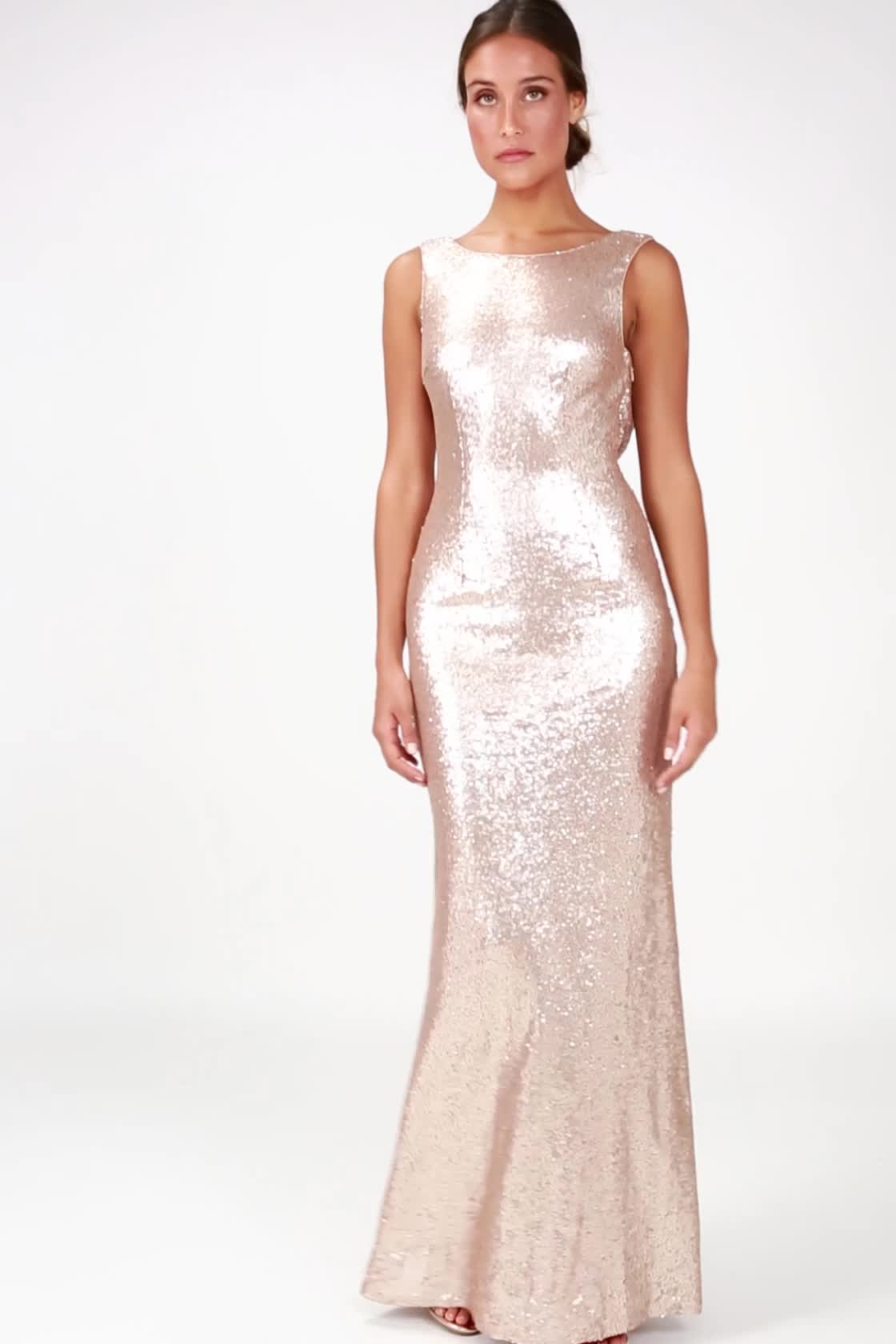 aba6b802797 ... Slink and Wink Matte Rose Gold Sequin Maxi Dress