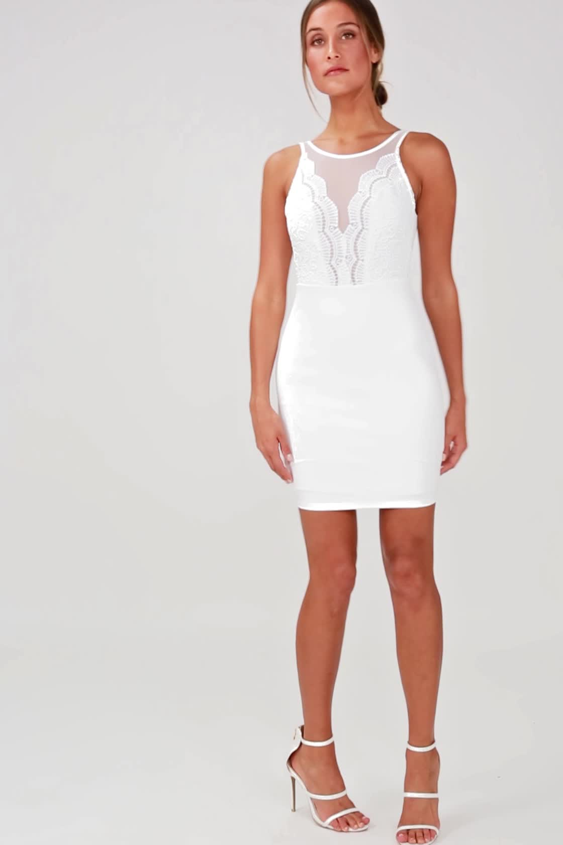 3d790a8a6 White Dress - Lace Dress - Bodycon Dress