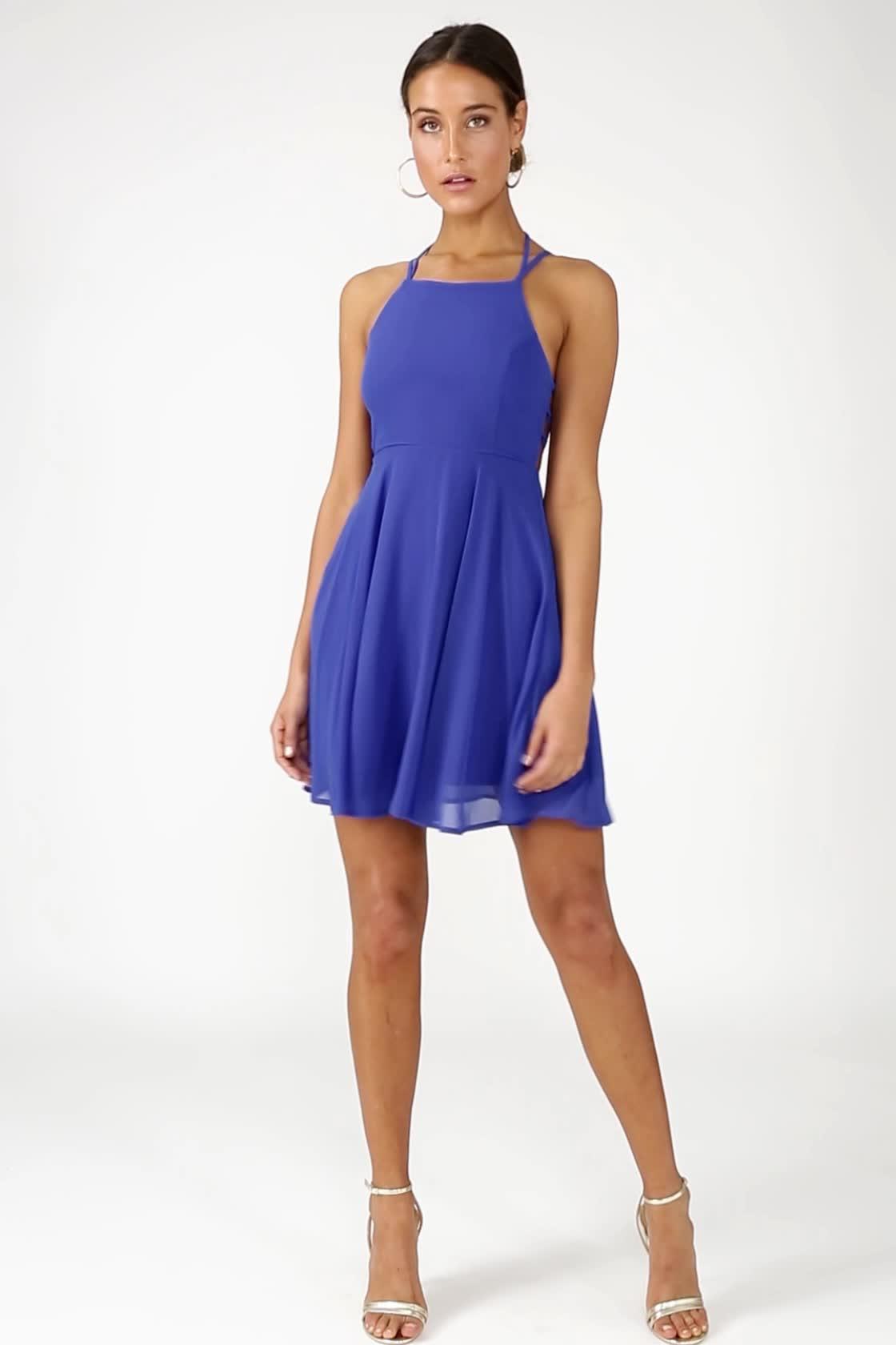 sexy royal blue dress  laceup dress  backless dress