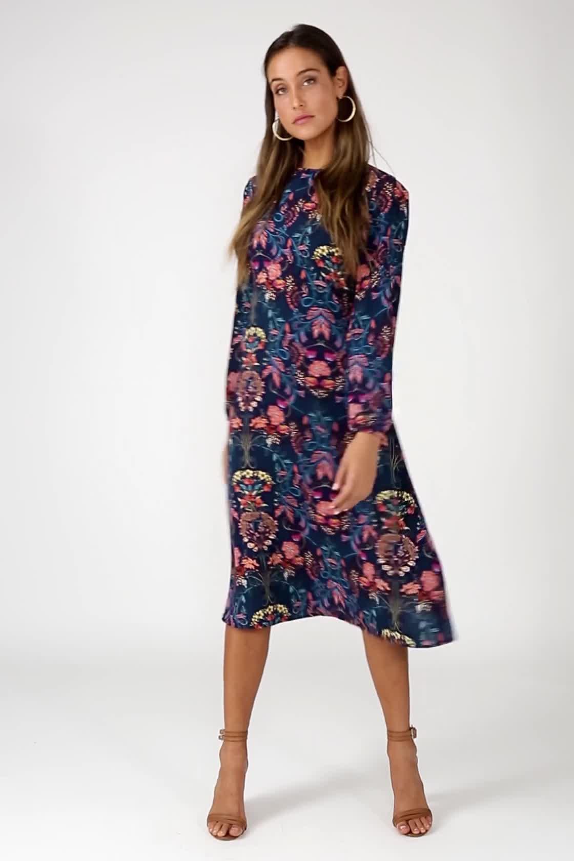 4f0980280229 Boho Midi Dress - Navy Blue Dress - Floral Print Dress - Long Sleeve ...