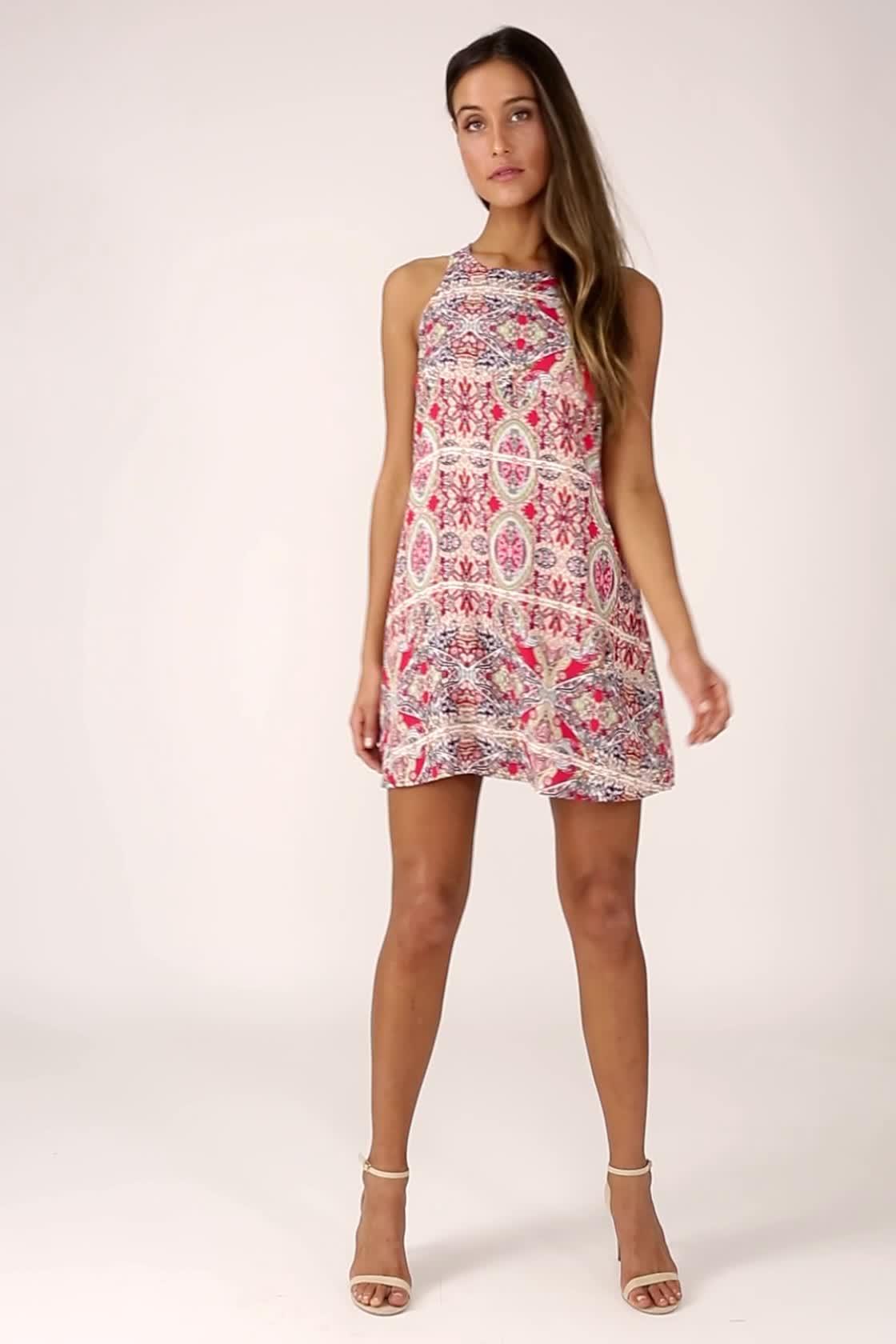 5f78990a562 Lovely Red Print Dress - Swing Dress - Sleeveless Dress - $39.00