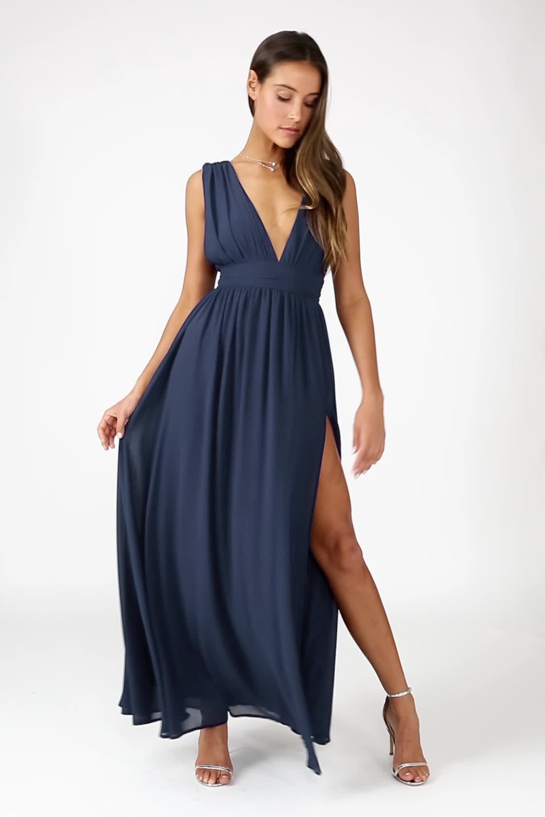9c9835841d Heavenly Hues Navy Blue Maxi Dress