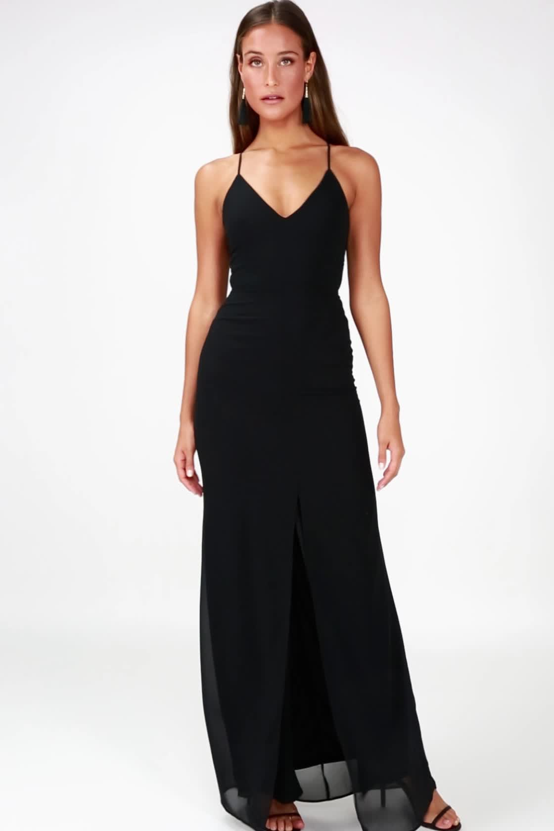 4306038360 Your browser does not support HTML5 video Story of a Starry Night Black Backless  Lace Maxi Dress