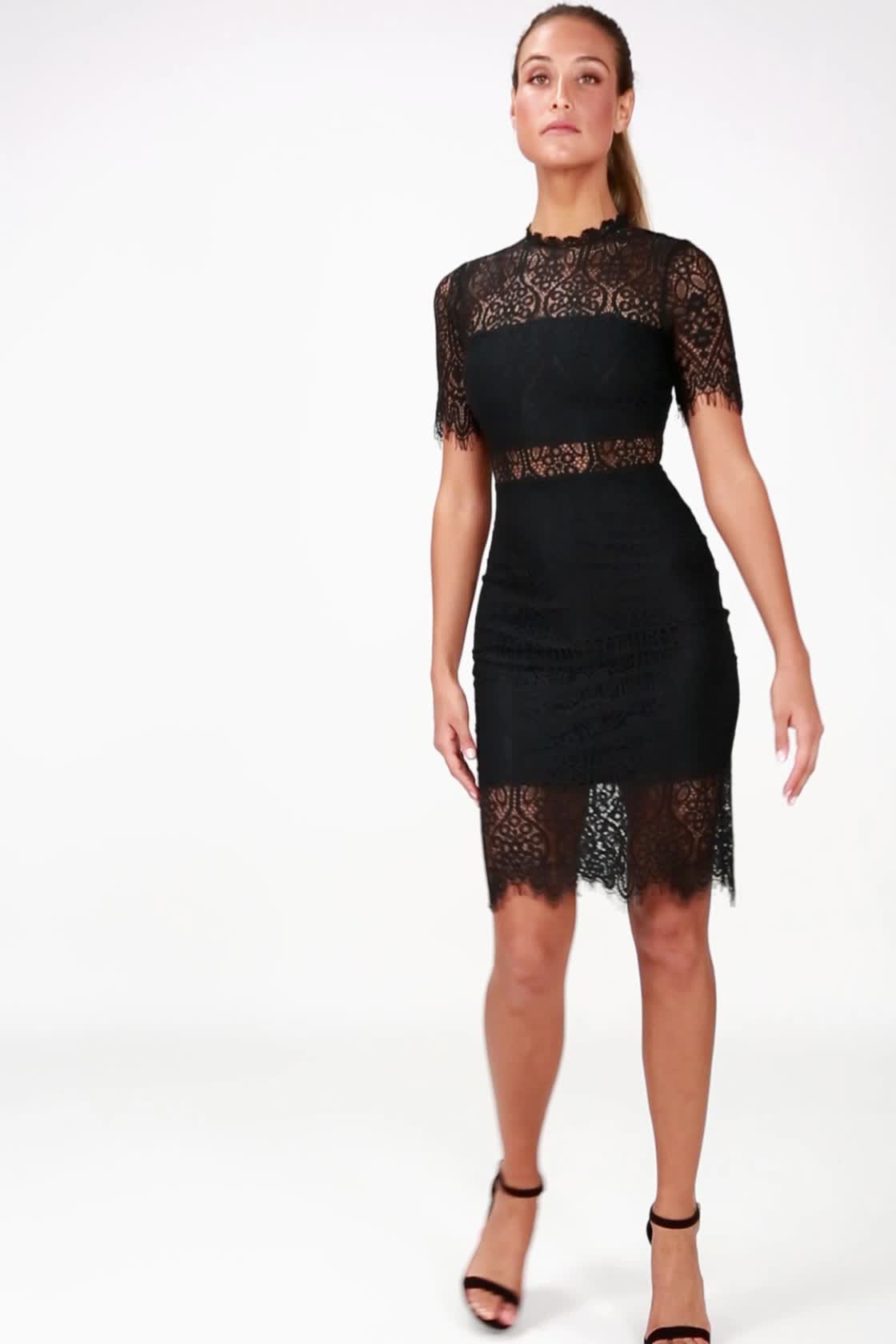 92de5c85fd2e0 Chic Black Dress - Lace Dress - LBD - Sheath Dress