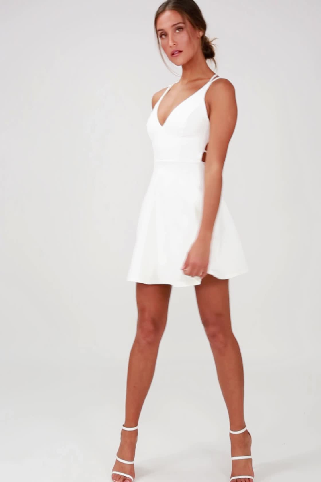 6e697e983e0fd0 Sexy White Dress - LWD - Backless Dress - Backless Skater Dress