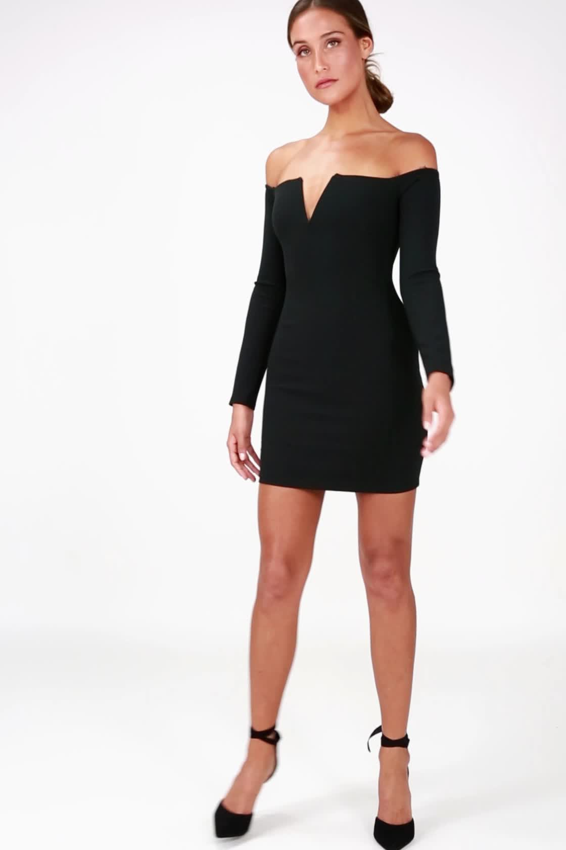 97c7bcc2ba0a ... Over the Swoon Black Off-the-Shoulder Bodycon Dress