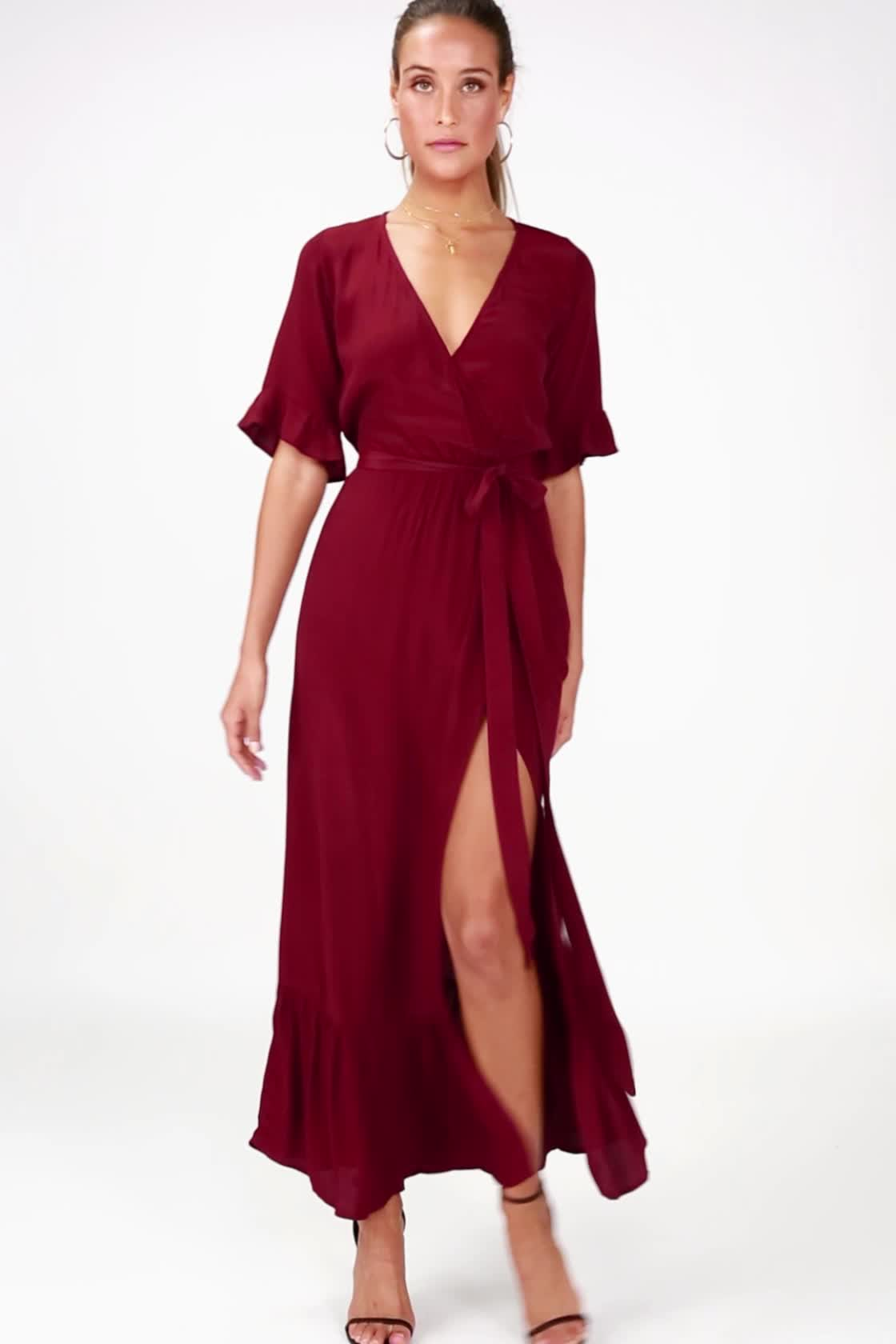 21411f1f8702 Lucy Love Enchanted Dress - Wine Red Midi Dress - Wrap Dress