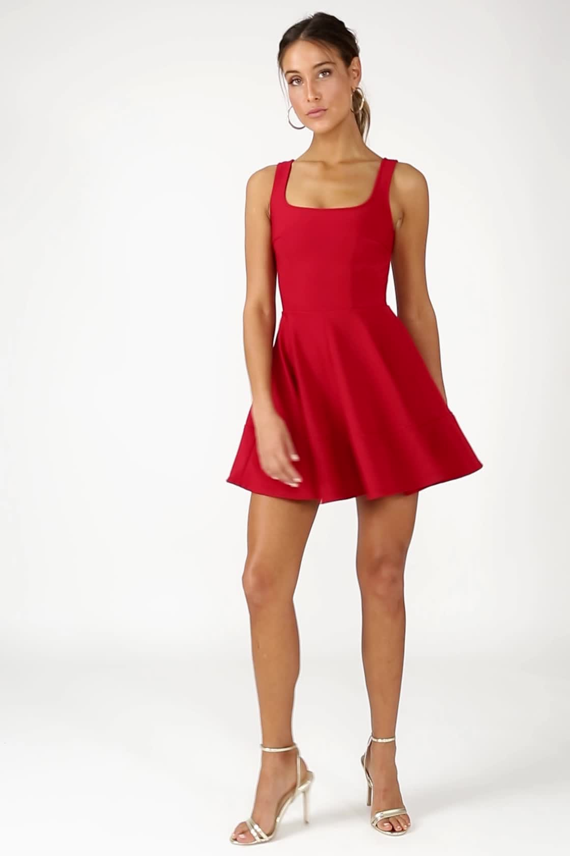Pretty Red Skater Dress - Red