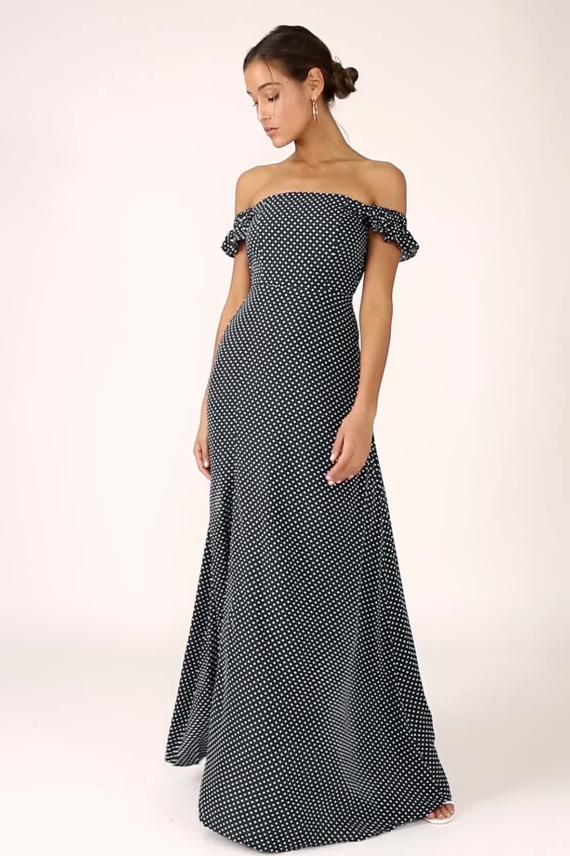 13aba36b5294b ... Dream Love Navy Blue Polka Dot Off-the-Shoulder Maxi Dress