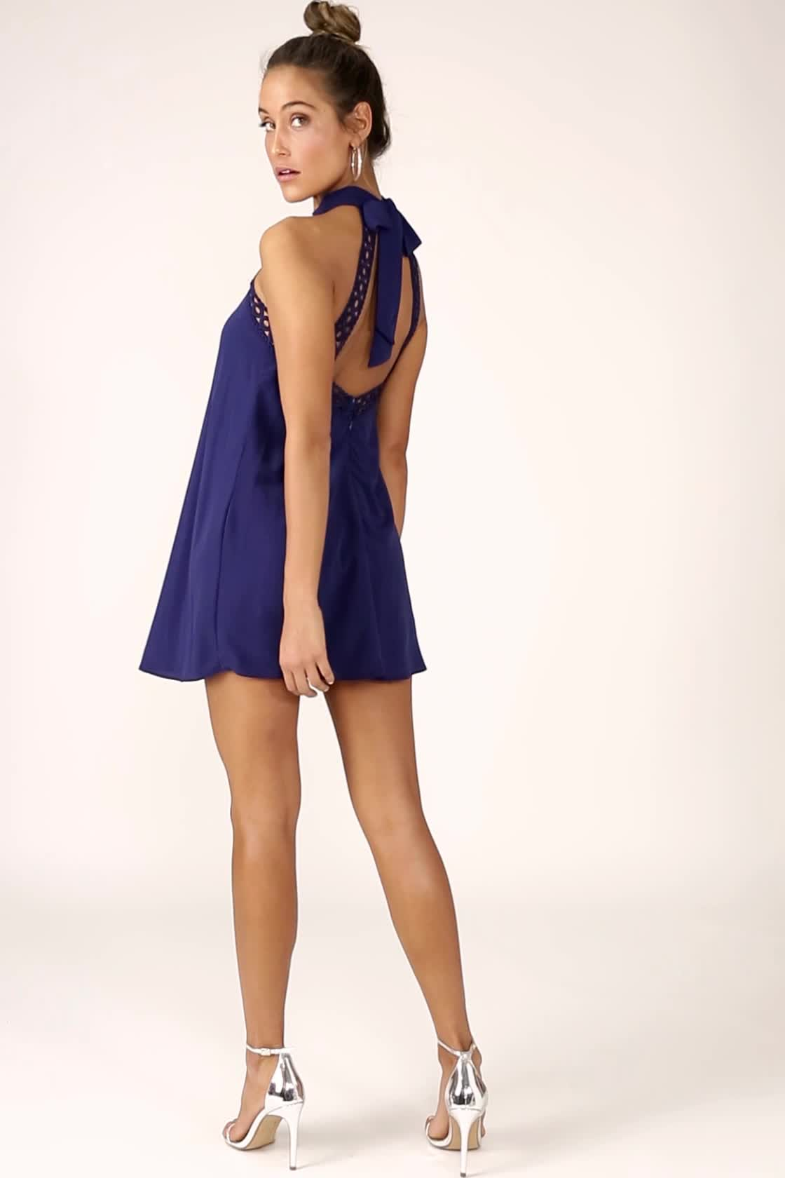 Cute Navy Blue Dress - Lace Dress - Halter Dress