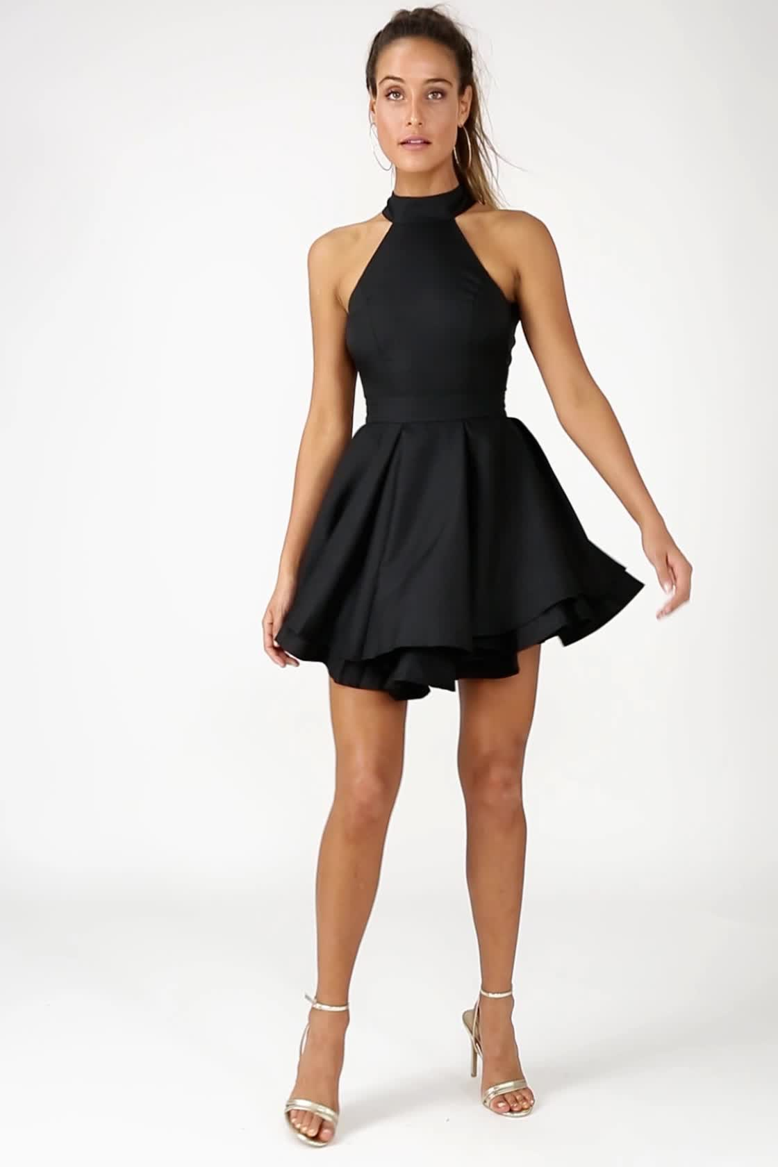 Cute Black Skater Dress - LBD - Homecoming Dress d225cd2c1