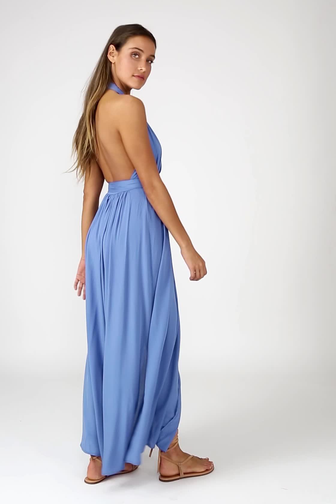 7b554d436d548 Lovely Periwinkle Blue Dress - Maxi Dress - Wrap Dress